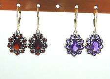 Amethyst, Garnet 925 Sterling Silver Flower Cluster Leverback Dangle Earrings
