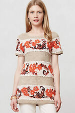 Anthropologie Banded Bouquets Tunic Size M, Floral Sweater By Knitted & Knotted