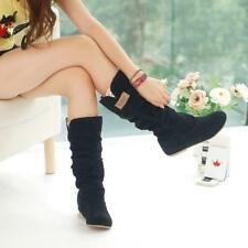 1Pair Women's Casual Comfort Mid Calf Knee High Slouch Flat Heel Boot Shoes - SS
