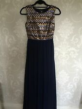 Ladies Formal Maxi Dress Ball Gown Long Length Size 8 Evening Wear Navy Sequins