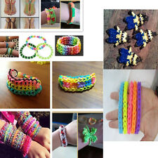 Tie Dye Rainbow Rubber Bands Loom Refill S Button DIY Bracelet Anklet Set #YQ