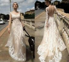 New Lace White/ Ivory Wedding Dress Bridal Gowns Custom Size 4+6+8+10+12+14+16++