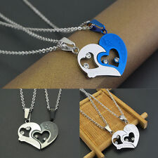 Stainless Steel Love Heart Lover Couple Pendant Necklace Sweet Gift Valentine
