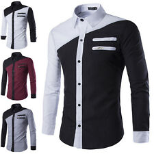 New Mens Luxury Long Sleeve Shirt Casual Slim Fit Stylish Dress Shirts Tops