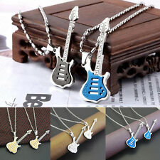 Men Women Stylish Stainless Steel Guitar Pendant Jewelry For Necklace Chain Hot