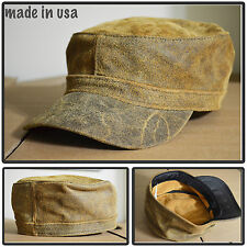 100% DISTRESS LEATHER ARMY CADET MILITARY BASEBALL CAP HAT MADE IN USA VTG BROWN