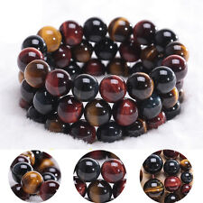 Natural Colorful Tiger's Eye Stone Round Beads Stretchy Bracelet Bangle New Gift