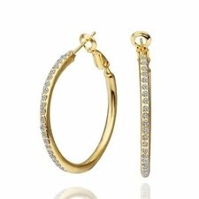 Awesome 18K Yellow Gold GP Crystal Fancy Circle Hoop Earrings Jewelry H132