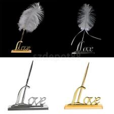 White Feather Signing Pen Registry Pen with Metal Love Holder Wedding Pen Set