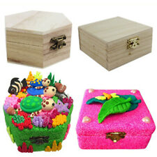 Unfinished Wood Wooden Jewelry Jewel Box Case for Kids DIY Craft Woodworking Toy