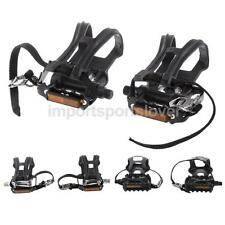 1 Pair Black Mountain Road BMX MTB Fixie Track Bike Pedals WITH TOE CLIPS STRAPS