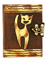 Cat Decoration Brown Leather Journal / Diary / Lock / Notebook / Notepad