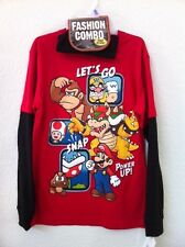 Super Mario Nintendo Boys Youth L/S T-Shirt Kong Bowser Power Up Snap Beanie NWT