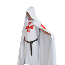 MEDIEVAL WARRIOR LARP Costume White Templar Knights Tunic /CAPE Cross Cloak