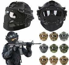 Military Tactical Combat Fast Helmet Metal Mesh Mask Goggles G4 System Paintball