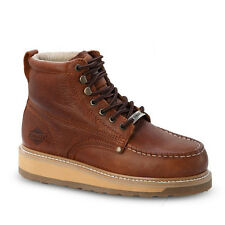 "Mens Light Brown 6"" Mocc Toe Leather WP Work Boots BONANZA 612 Size 6-12 (D, M)"