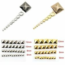 100pcs DIY Metal Punk Square Pyramid Spike Rivet Studs Leathercraft 6-12mm ta