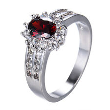 Size 5-12 Red Ruby CZ Wedding Band 10KT White Gold Filled Engagement Party Ring