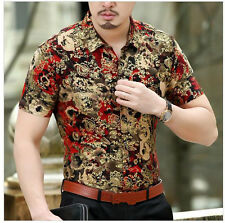 Luxury New Chemise Homme highquality silk Black Golden Print Mens Leopard shirts