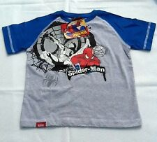 NWT Youth Marvel 2-Tone Spiderman Gray Shirt w/Blue Sleeves Sizes 4 6 8 10