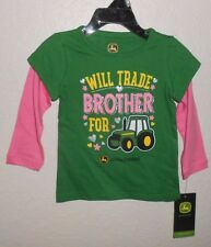JOHN DEERE BABY / TODDLER WILL TRADE BROTHER FOR TRACTOR LONG SLEEVE TOP