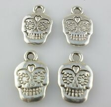 16/48/250pcs Tibetan Silver Halloween Skull Charms Pendants Beads for Jewelry