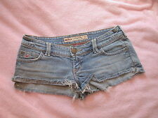 HOLLISTER - Size 1  W25 - Frayed Faded Blue Denim Hipster Shorts California
