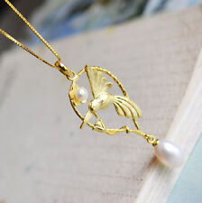 Brand New 18KY Gold Plated 925 Sterling Silver Pendant Freshwater Pearl