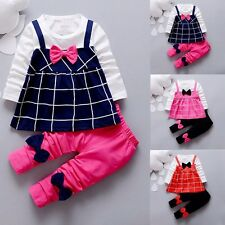 2pcs baby kids Girls fall clothes cotton top +pants baby girl dress  Outfits bow