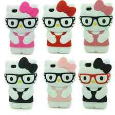 Hello Kitty Glasses 3D Gel Silicone Soft Rubber Case Cover For iPhone 6 6S Plus