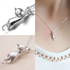 Women's Silver Plated Cute Jumping Cat Pendant Charms Necklace Jewelry Dulcet