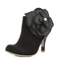 Womens Irregular Choice Pearl Necture Black Heeled Ankle Boots Shu Size