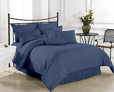 1000TC Hotel Navy Blue StripeSets100%Egyptian Cotton All Size By Royal Bedding's