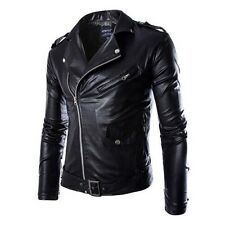 New Hot Men Fashion Jacket Collar Motorcycle Short Slim PU Leather Coat Outwear