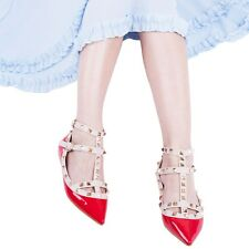 Women Flat Pointed Toe Studded Ankle Strappy Patent Leather Rivet Shoes ICA