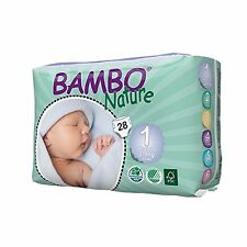 Bambo Nature Eco Nappies New Born Size 1 (4-9lb / 2-4kg) 28 pieces per pack NEW