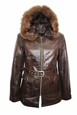Ladies 5788 Dark Brown Glaze Hooded Mid-Length Fur Real Leather Jacket Coats