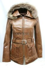 Ladies 5788 Tan Glaze Hooded Mid-Length Fur Real Leather Jacket Coats