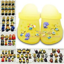 Hot 40-65pcs Despicable me Shoe Charms Decoration Silicone Wristbands kids gifts