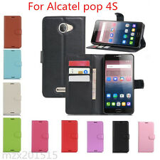 Litchi Leather wallet flip stand pouch Cover Skin Case For Alcatel pop 4S M