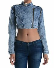 Womens Light Stonewashed Motorcycle Style Short Crop Blue Denim Vest Jean Jacket