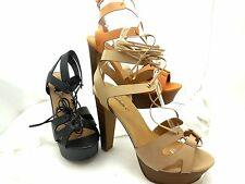 Women BETSEY-42 Open Toe Strappy Lace Up Platform Chunky High Heel Sandals Shoes