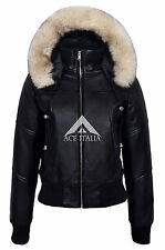 Ladies 1992 Casual Black Bomber Style Designer Real Italian Leather Fur Jacket
