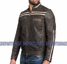AFFLICTION Black Skull 110OW234 New Leather Jacket+Free Affliction ($39) T-shirt