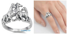 Sterling Silver 925 PRETTY RUNNING HORSE DESIGN SILVER RING 14MM SIZES 4-13
