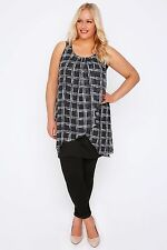 Plus Black & White Broken Check Print Chiffon Overlay Tunic Dress 16-32