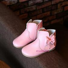 New Fall Winter Toddlers Kids Girls Mid-top Ankle Boots Shoes Sweet Bow Princess