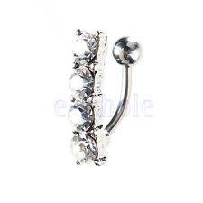 rhinestone Vertical Drop Reverse Belly Button Ring  Navel Ring TW