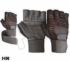 WEIGHT LIFTING PADDED LEATHER GLOVES FITNESS POWER TRAINING WRIST SUPPORT STRAPS