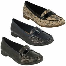 LADIES CLARKS SLIP ON SNAKE EFFECT FLAT SMART LOAFER SHOES ATOMIC LADY